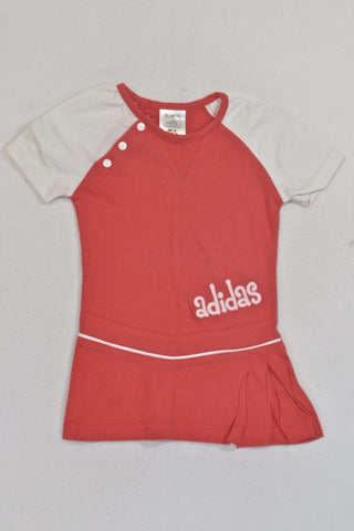 Adidas Coral And White Tennis Dress Girls 9-12 months
