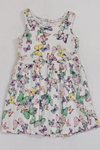H&M White Butterfly  Dress Girls 3-4 years