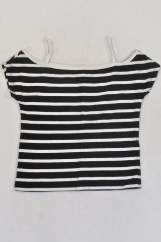 New Black And White Stripe Boat Neck Top Girls 7-8 years