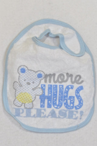More Hugs White Terry Cloth Bib Boys 3-6 months