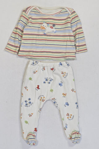 Colourful Stripe Long Sleeve Top And Leggings Unisex 0-3 months
