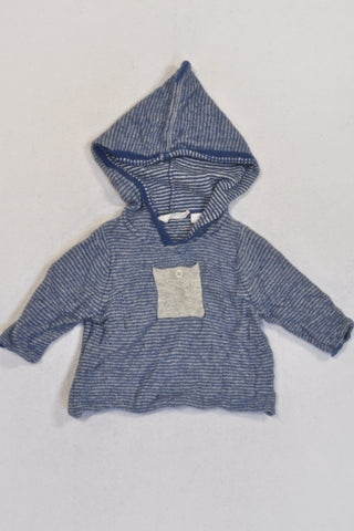 Country Road Blue Stripe Soft Hooded Jersey Boys 0-3 months