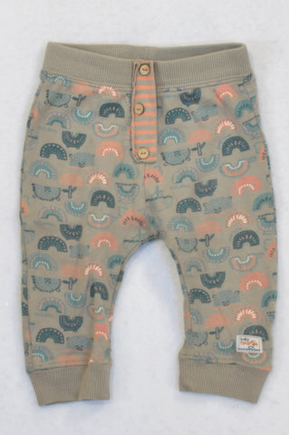 Naartjie Mushroom Semi Circle Button Detail Soft Pants Boys 3-6 months