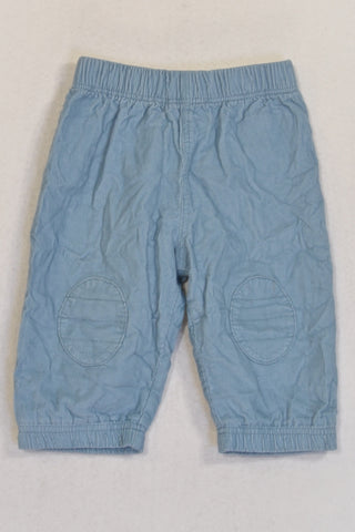 M&S Blue Corduroy Lined Knee Pad Pants Boys 3-6 months