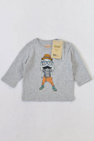 New Cotton On Grey Fun Bunny T-shirt Boys 3-6 months