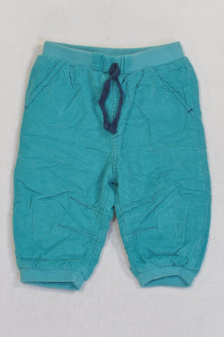 Woolies Teal Lined Corduroy Pants Boys 3-6 months