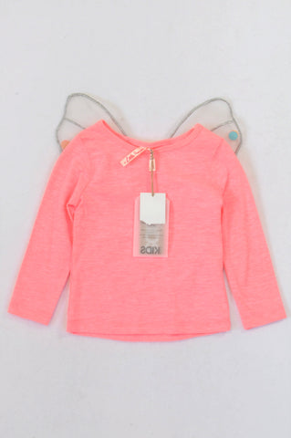 New Cotton On Lumo Pink/Silver Payettes Fairy Top Girls 5-6 years