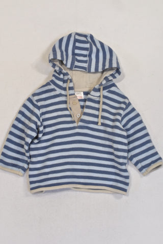 M&S Blue Stripe Hooded Jersey Boys 3-6 months