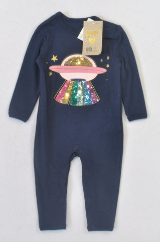 New Cotton On Navy Peacoat Spaceship Onesie Girls 3-6 months