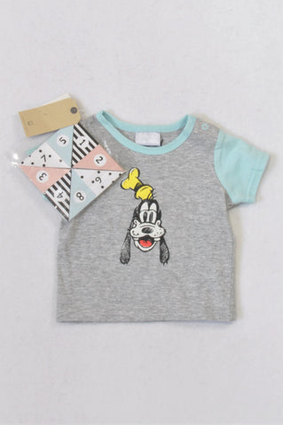 New Cotton On Grey & Blue Goofy T-shirt Boys 3-6 months