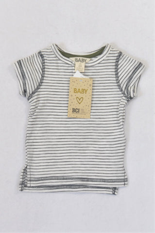 New Cotton On Vanilla & Blue Stripe T-shirt Boys 3-6 months