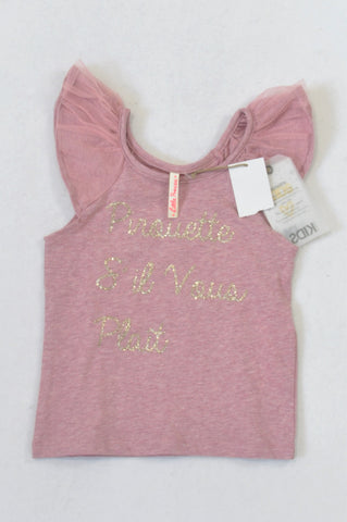 New Cotton On Dusty Rose Pirouette T-shirt Girls 1-2 years