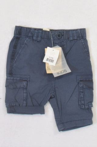 New Cotton On Basic Navy Cargo Shorts Boys 6-12 months