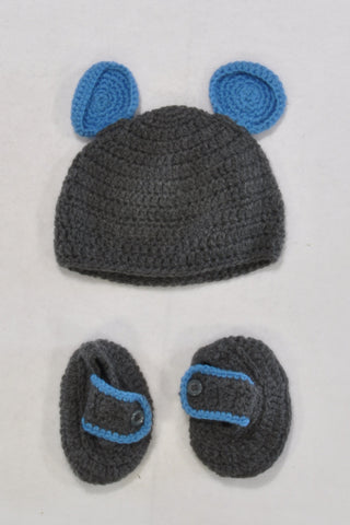 New Handmade Crocheted Blue Mickey Ears Beanie Boys 9-12 months