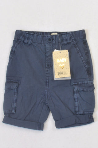 New Cotton On Basic Navy Cargo Shorts Boys 18-24 months