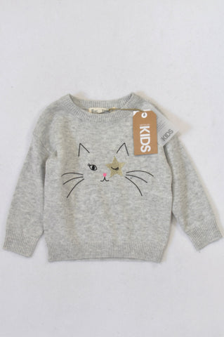 New Cotton On Silver Star Cat Knit Jersey Girls 2-3 years