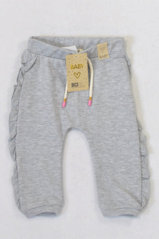 New Cotton On Grey Ruffle Track Pants Girls 12-18 months