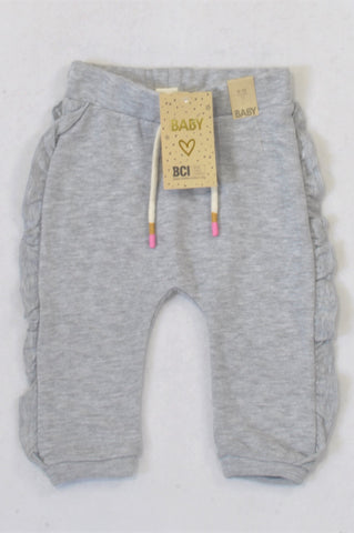 New Cotton On Grey Ruffle Track Pants Girls 6-12 months