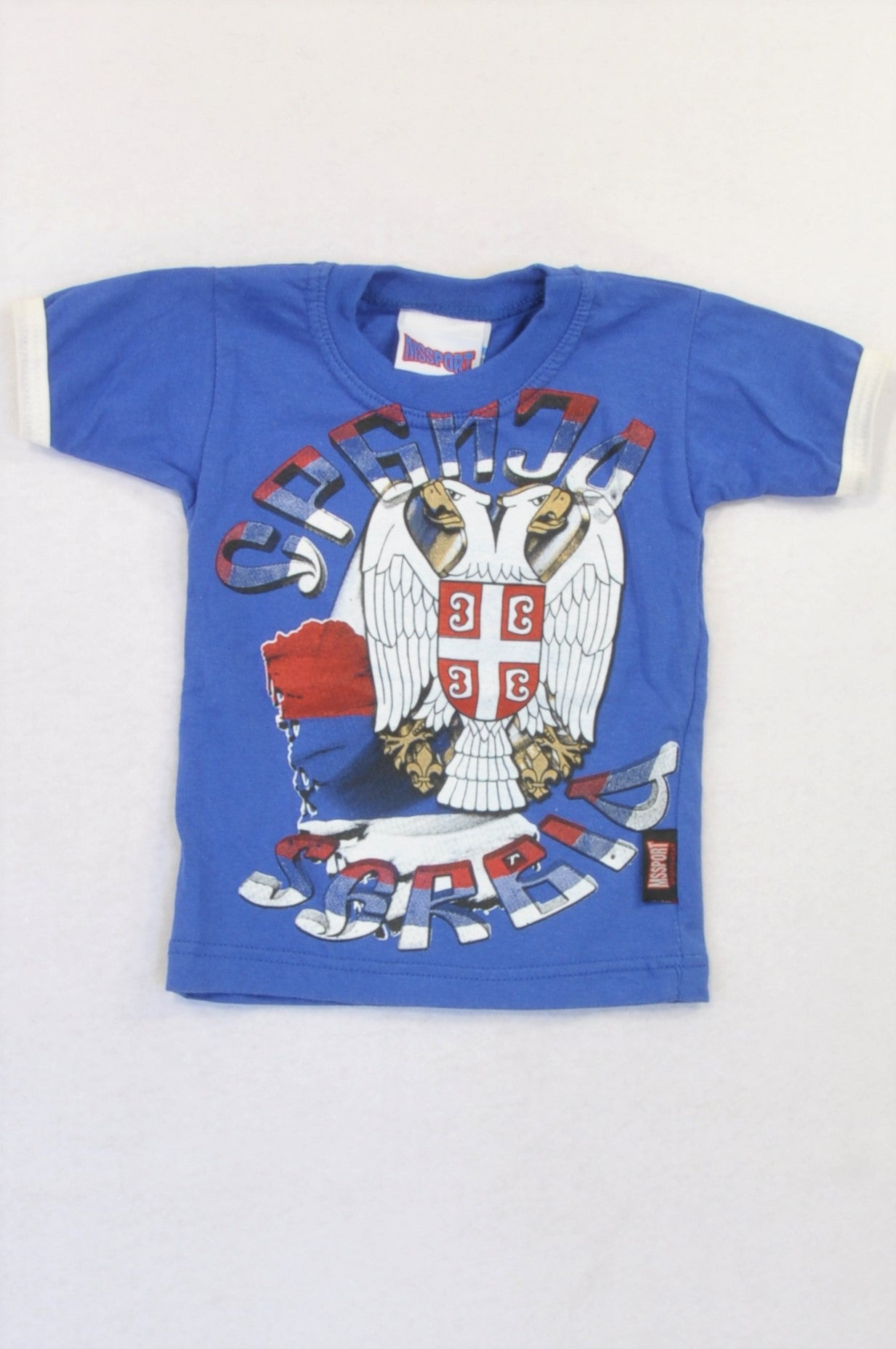 MSSPORT Blue White Trim Eagle Serbia T-shirt Boys 12-18 months