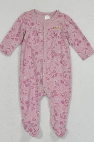 Naartjie Purple Flower Snap Onesie Girls 3-6 months