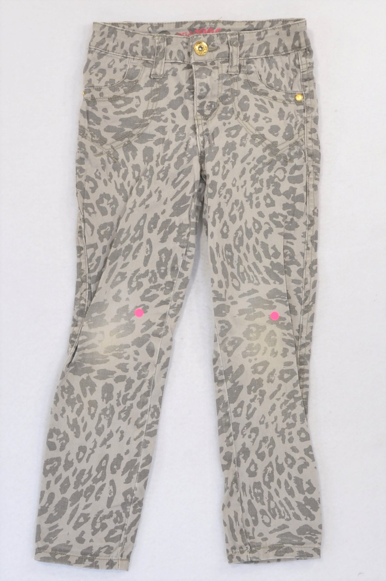 Pick 'n Pay Grey Animal Print Stretch Skinny Jeans Girls 5-6 years