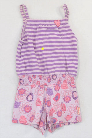 Naartjie Purple Stripe and Floral Panel Romper Girls 2-3 years