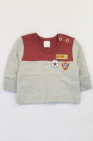 Naartjie Burgandy Grey Superstar Pull Over Top Boys N-B