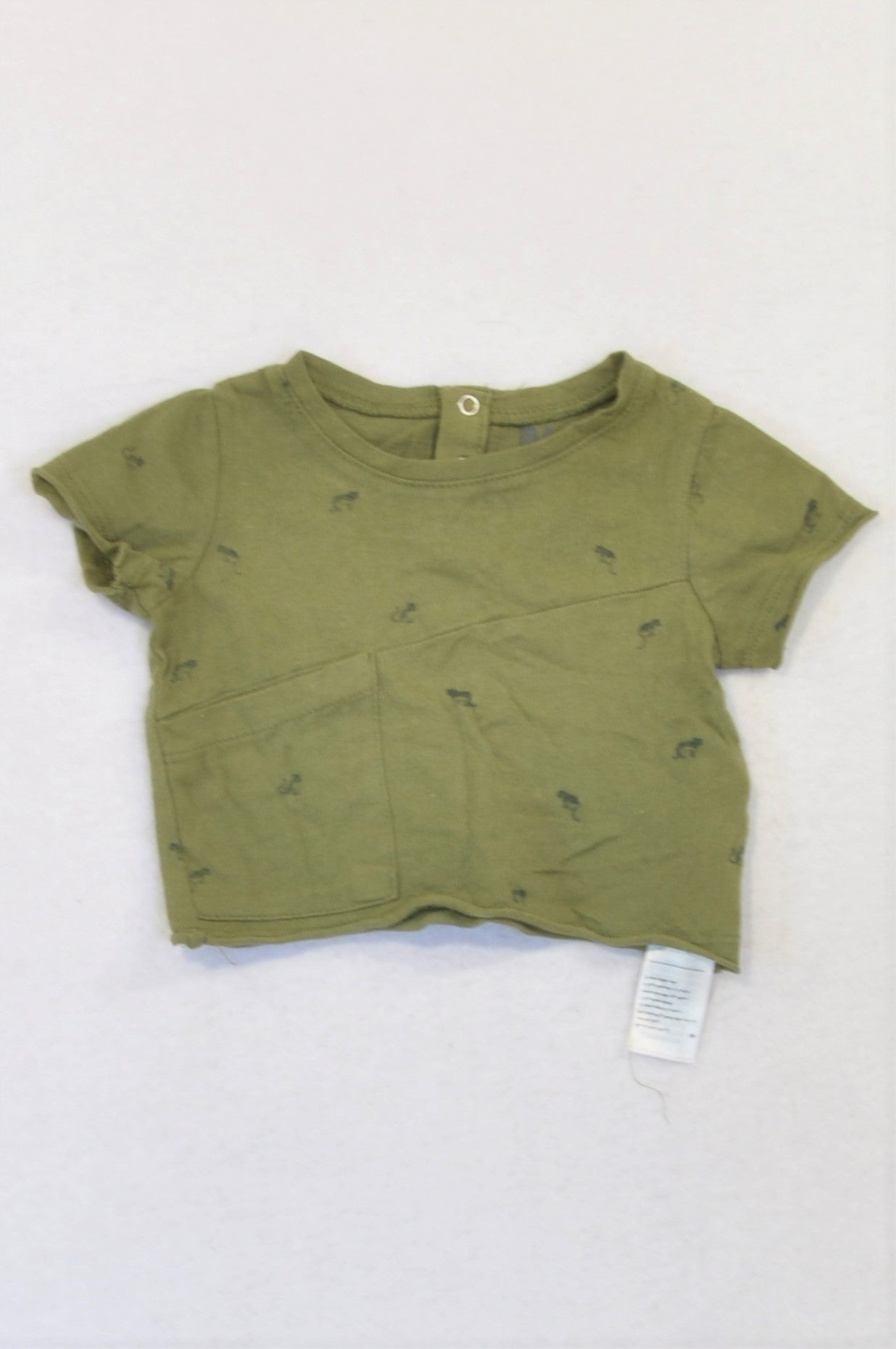 Cotton On Olive Cut Trim Cheetah T-shirt Unisex 0-3 months