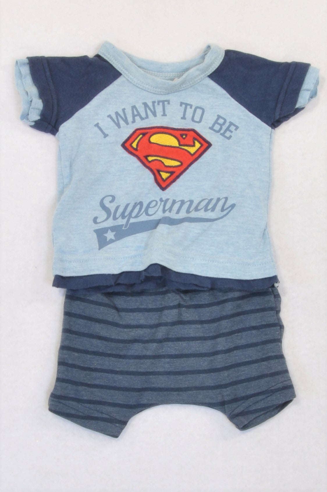 Woolworths Blue & Navy Superman T-Shirt & Shorts Outfit Boys N-B
