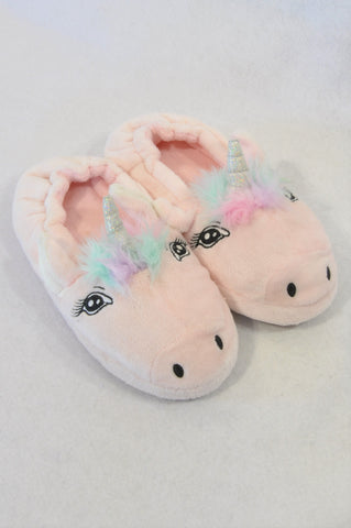 Marks & Spencers Size Y2 Pink Unicorn Fleece Slippers Girls 7-8 years