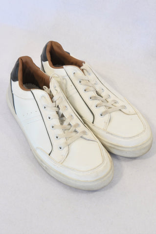 Studio.w Size 7 White Brown & Grey Tie Shoes Boys 14-16 years