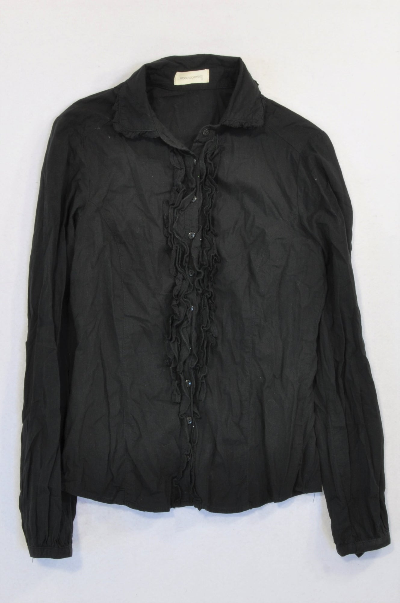 Woolworths Navy Ruffle Button Stand Blouse Women Size 8