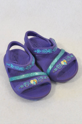 Crocs Size 3 Deep Purple Frozen Sandals Girls 9-12 months
