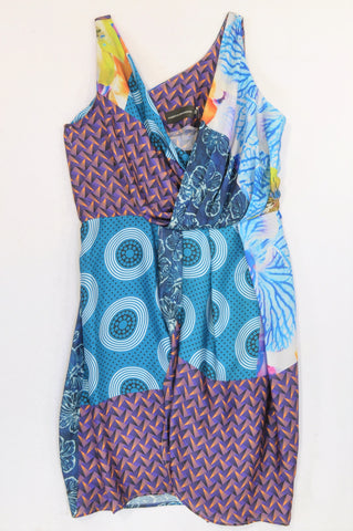 New Albertus Swanepoel Multi Color & Pattern Designers Dress Women Size 38