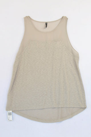 New Woolworths Taupe Chiffon Bodice Blouse Women Size M