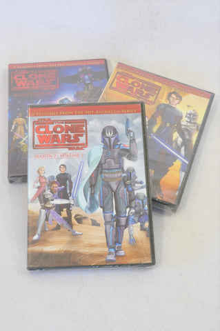 New Star Wars 3 pack The Clone Wars Season 2 Volume 1,2,3 Kids DVD Unisex 8+ years