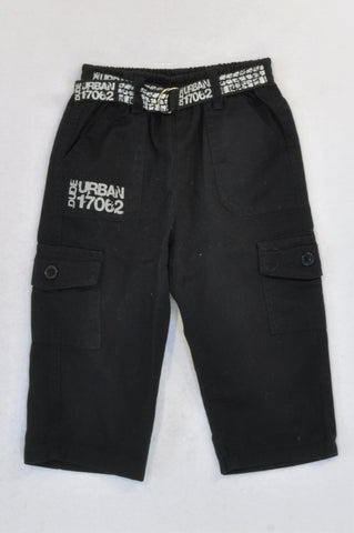 Little Rebels Black Cargo Urban Print Pants Boys 18-24 months