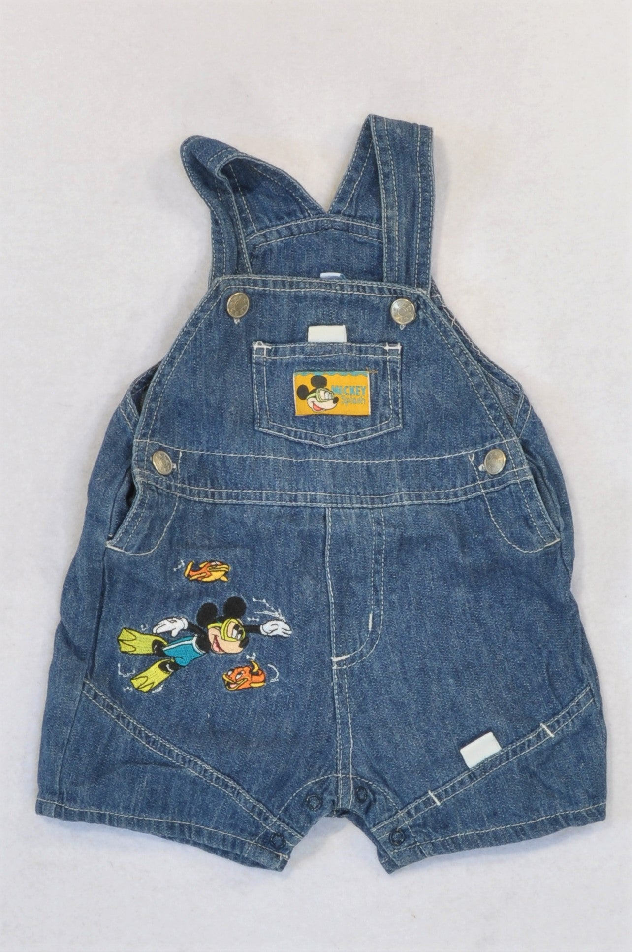 Disney Denim Mickey Mouse Dungarees Boys 3-6 months