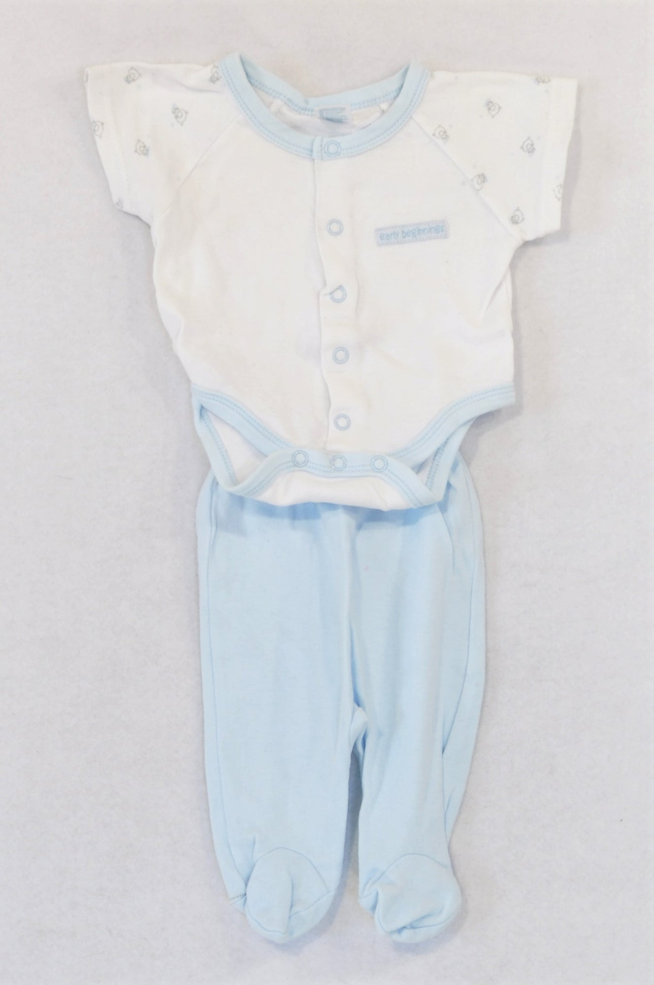 Ackermans Blue Trim Baby Grow & Leggings Outfit Boys Tiny Baby