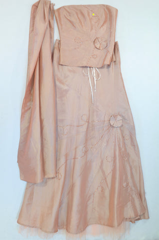 Truworths Dusty Pink Satin Beaded Evening Wear Outfit Women Size 32
