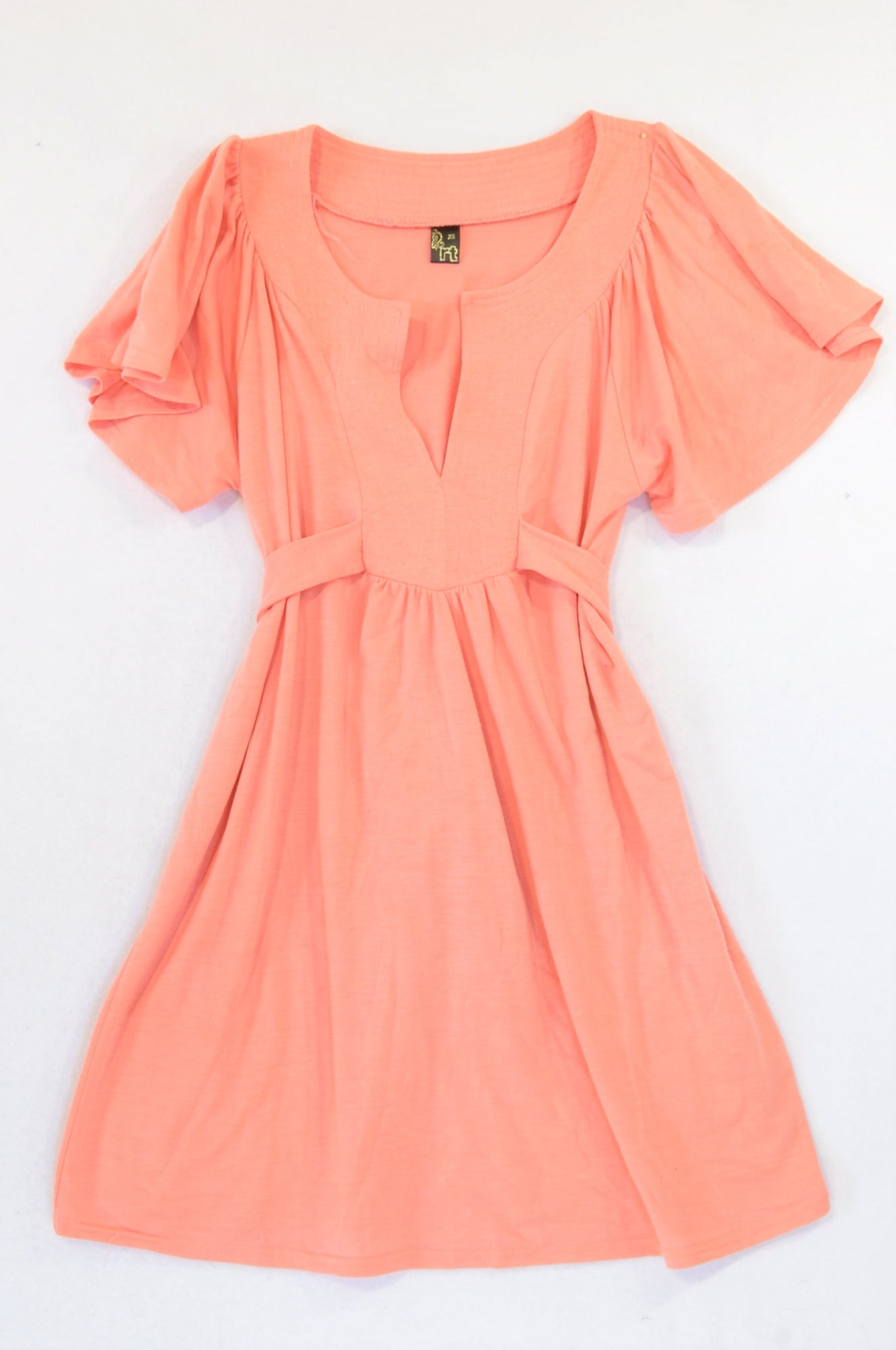 Mr. Price Light Coral Tie Baby Doll Tunic Top Women Size XS