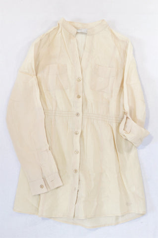 Unbranded Light Beige Roll Up Sleeve Blouse Women Size S