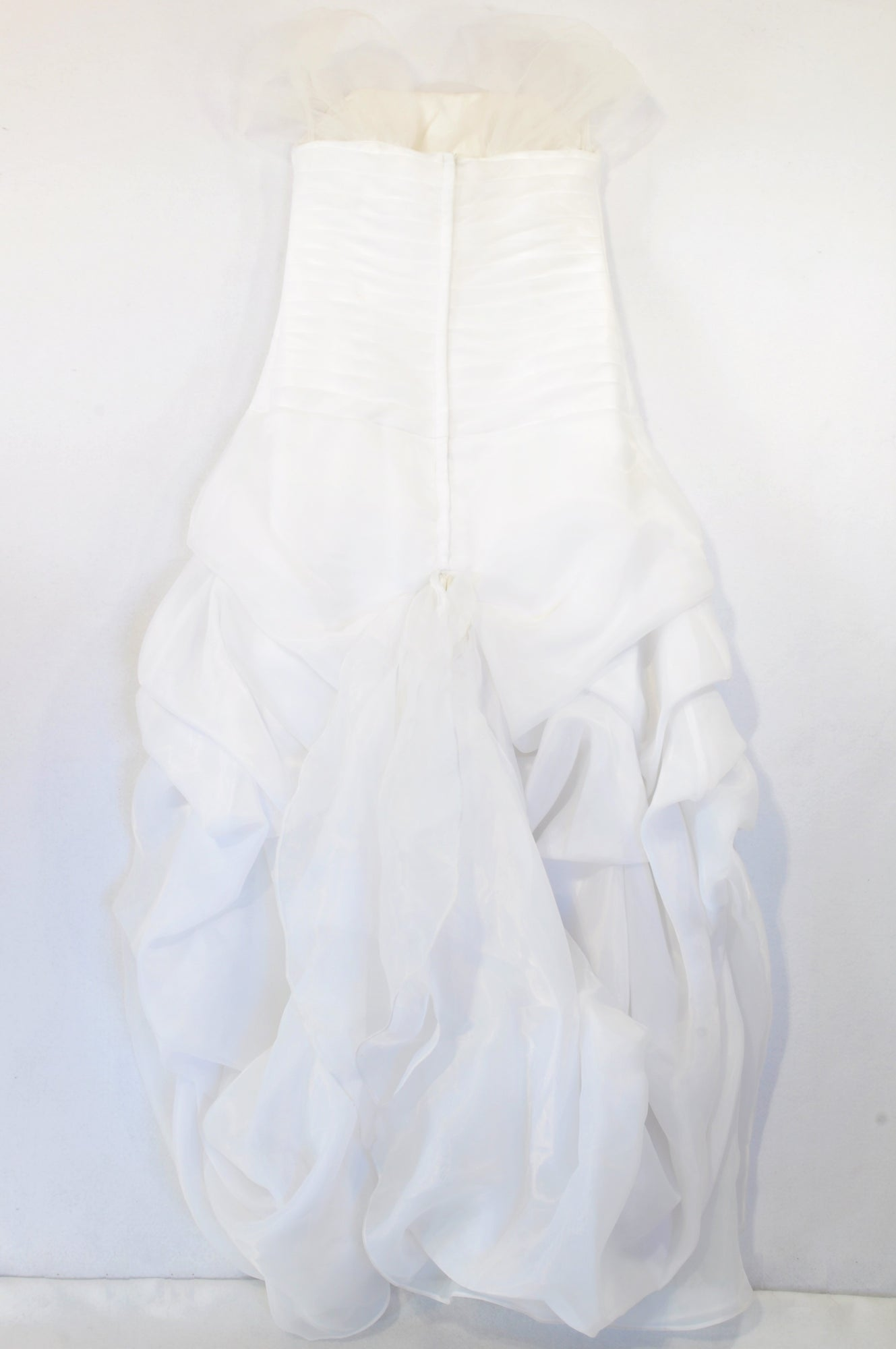 White Organza High-Low Pleat Bodice Wedding Dress Women Size 8