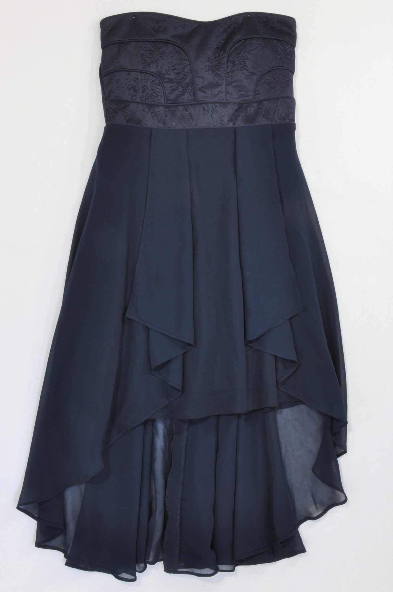 New Jolie Comme Moi Navy Embossed Flower Bodice High Low Dress Women Size M