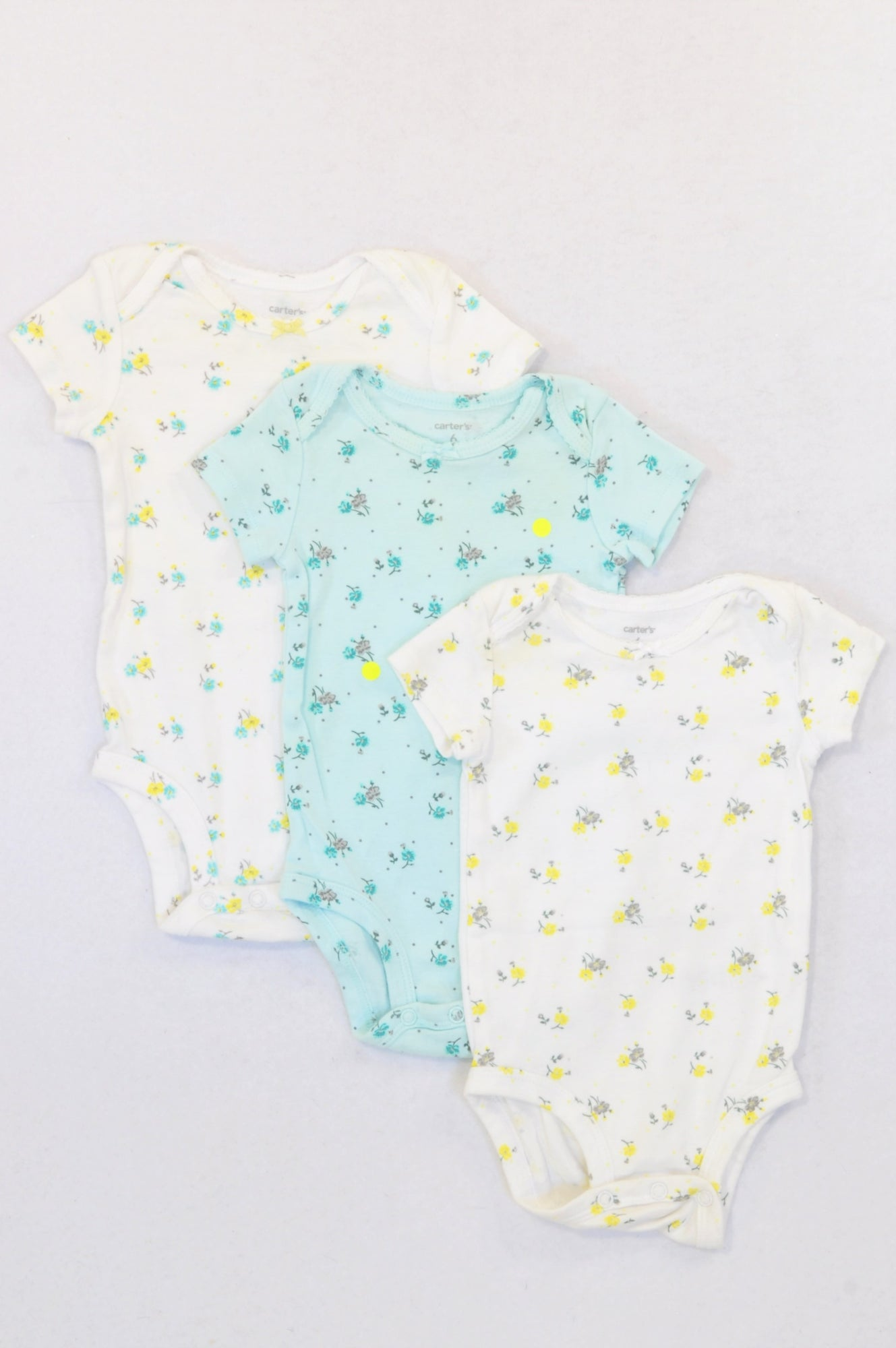 Carter's 3 Pack Aqua & Tiny Yellow Flower Baby Grows Girls 3-6 months