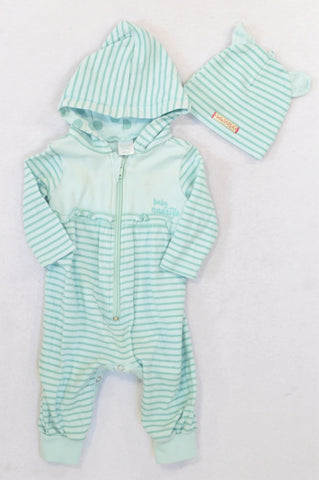 Naartjie Mint Stripe Hooded Onesie & Beanie Outfit Girls 0-3 months