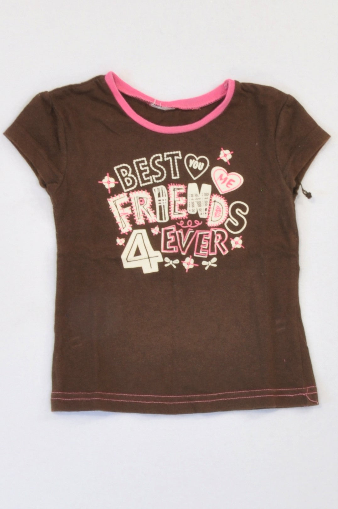Unbranded Brown Hearts Best Friends T-shirt Girls 6-12 months