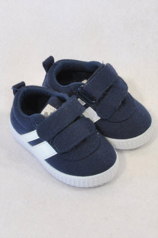Woolworths Size 1 Navy White Stripe Sneaker Shoes Boys 3-6 months