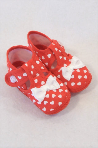 Unbranded Size 3 Red Heart Soft Shoes Girls 9-12 months