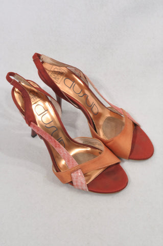 Errol Arendz Copper & Coral Heeled Sandals Women Size 5